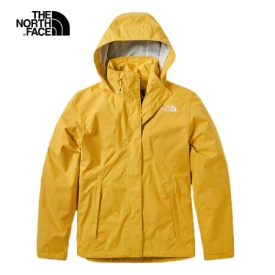 The North Face北面女款黃色防水透氣衝锋衣 3VPR70M