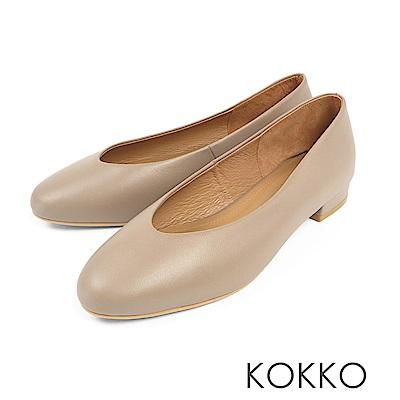 KOKKO - 蒙布朗之約手工全真皮平底鞋-晨霧灰