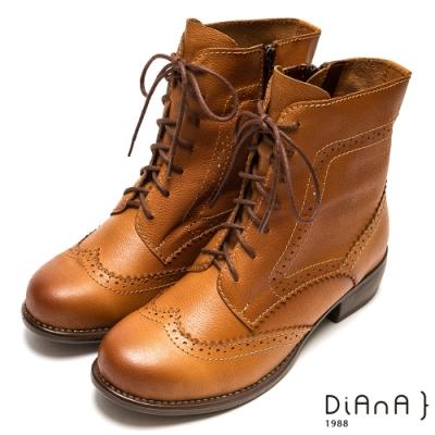 DIANA 復古雕花綁帶牛津粗跟中筒靴-英倫風範-棕