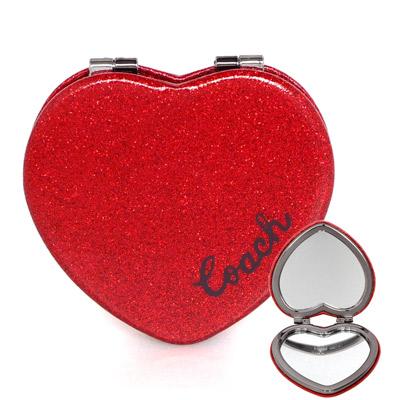 COACH紅色亮粉皮革心型雙摺隨身鏡