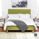 漢妮Hampton-莫里斯6尺布面拉扣雙人床架-綠