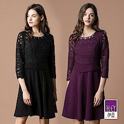 ILEY伊蕾 鑽飾圓領蕾絲洋裝(黑/紫)
