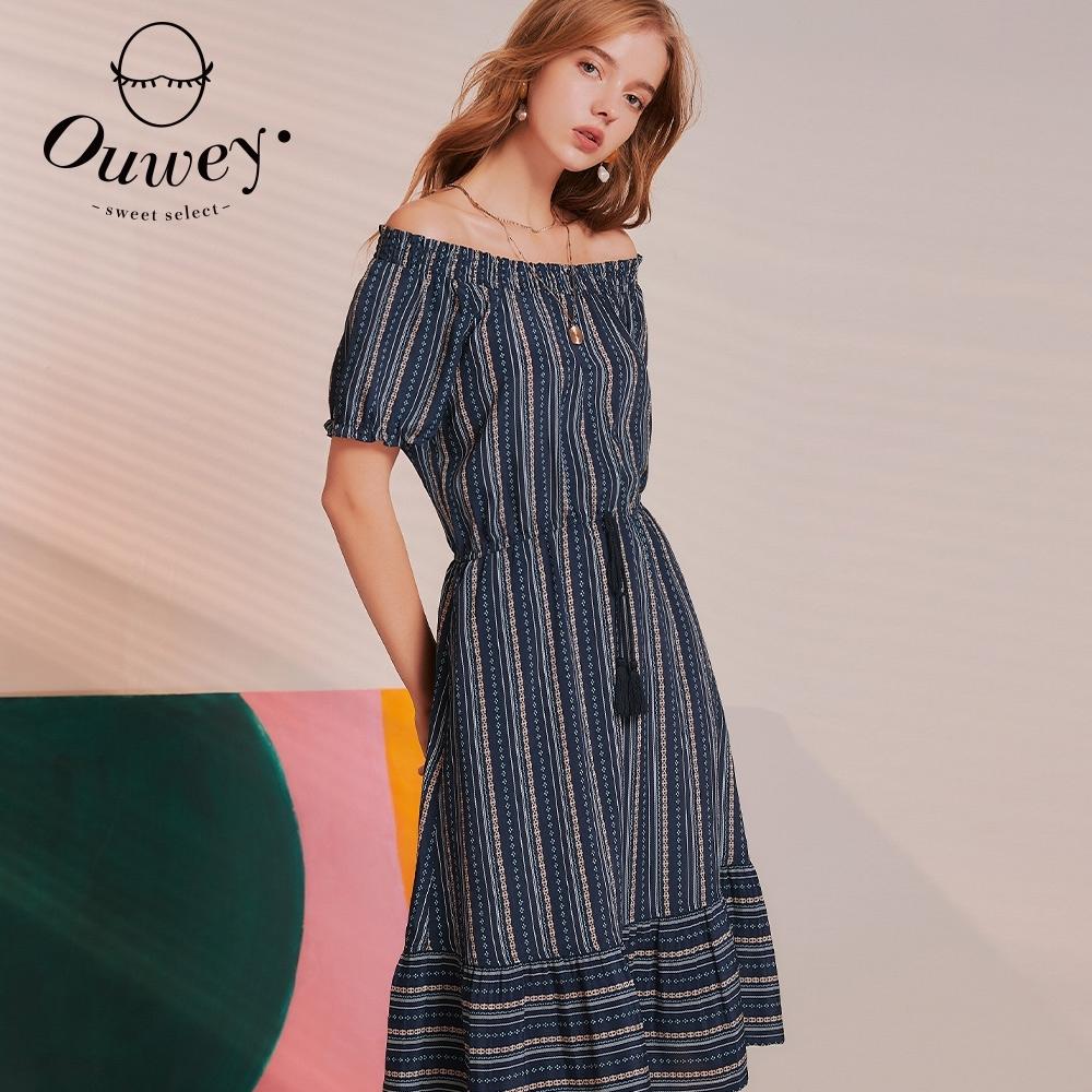OUWEY歐薇 民俗渡假風鬆緊綁帶洋裝(深藍)3212027422