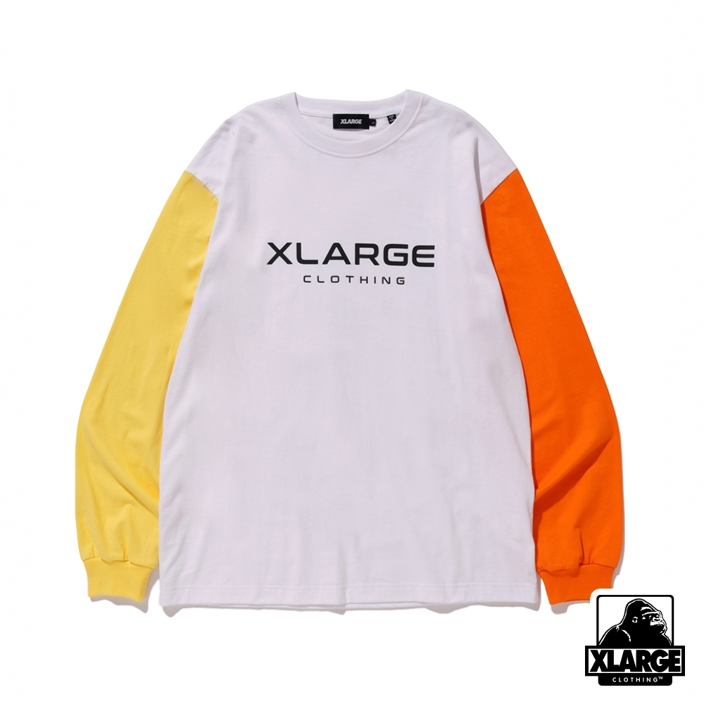 XLARGE L/S TEE TRICOLOR長袖T恤-白