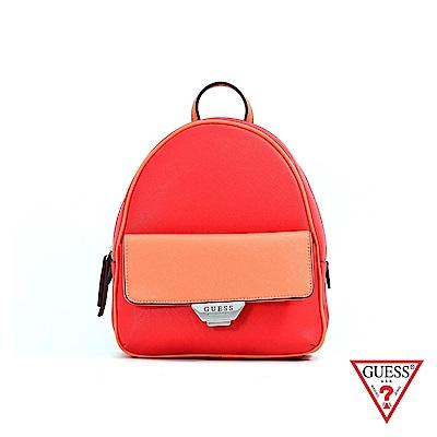 GUESS-女包-簡約素面雙色後背包-紅 原價3090
