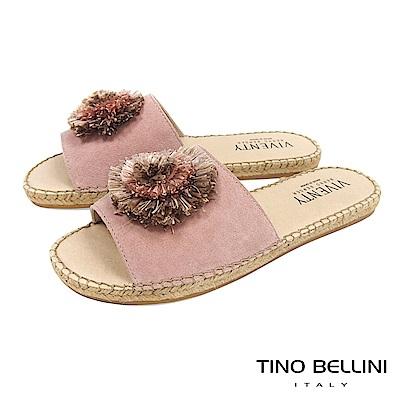 Tino Bellini 西班牙進口層次花朵麻編平底涼拖鞋 _ 粉