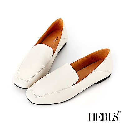 HERLS 漫步雲端 全真皮兩穿素面方頭樂福鞋-米白
