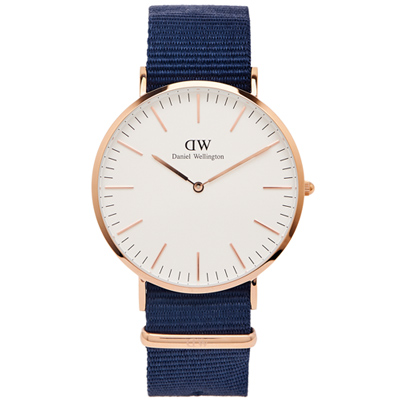 DW Daniel Wellington 經典Bayswat手錶-白面X玫瑰金框/40mm