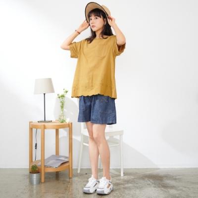 慢 生活 蕾絲鏤空下襬棉料寬版上衣- 土黃/卡