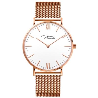 J&V 簡尚系列白色錶盤/玫瑰金米蘭錶帶40mm(Y01646-Q3.PPWBP)