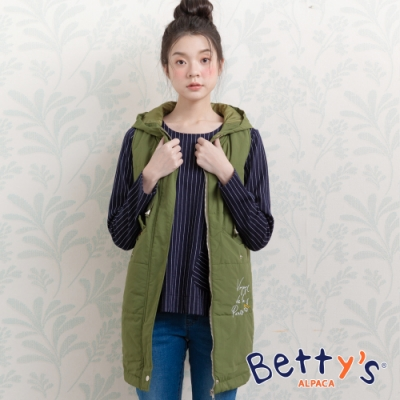 betty's貝蒂思 簡約連帽刺繡鋪棉背心外套(綠色)