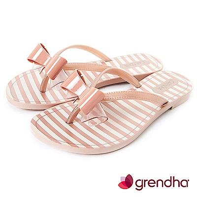 Grendha 海軍風立體蝴蝶結夾腳鞋-粉膚