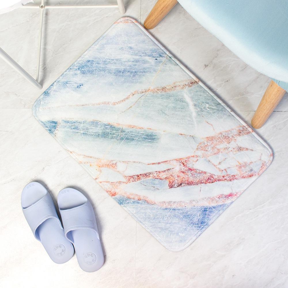 樂嫚妮 法蘭絨吸水防滑地墊-大理石紋藍