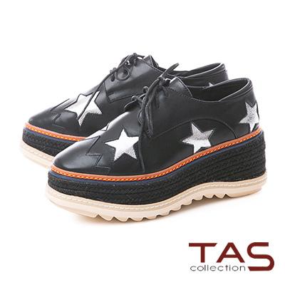 TAS閃耀星星牛皮草編厚底牛津鞋-個性黑