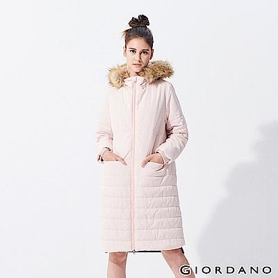 GIORDANO 女裝素色毛圈連帽長版鋪棉外套-95 百花粉紅