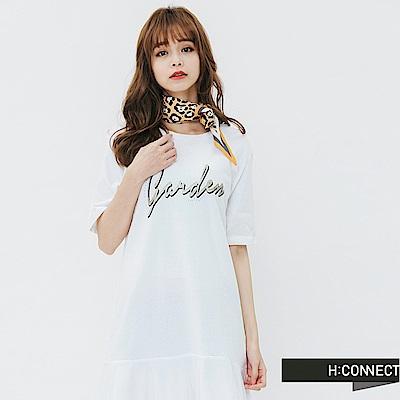 H:CONNECT 韓國品牌 女裝-網紗拼接印字洋裝-白