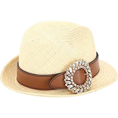 miu miu 水晶鑲嵌珠寶釦環草編紳士帽(棕色)