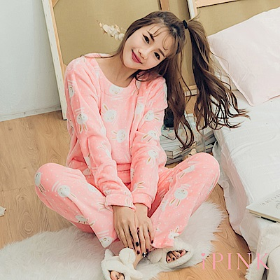 i PINK 冬日樂園 法蘭絨圓領居家服睡衣套裝(橘兔)