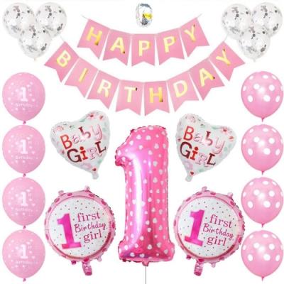 WIDE VIEW 粉色愛心週歲生日派對氣球套組(BL-10)