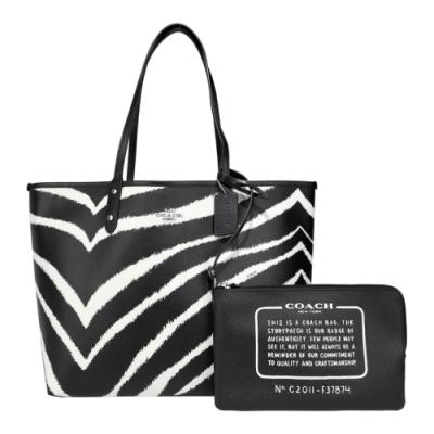 COACH 立體馬車斑馬紋印花雙面翻托特包/附手拿包(黑白)