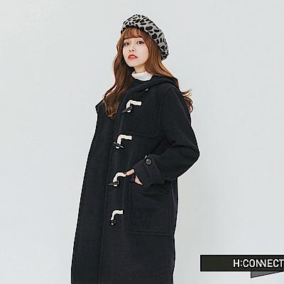 H:CONNECT 韓國品牌 女裝-雙口袋牛角扣連帽外套-藍