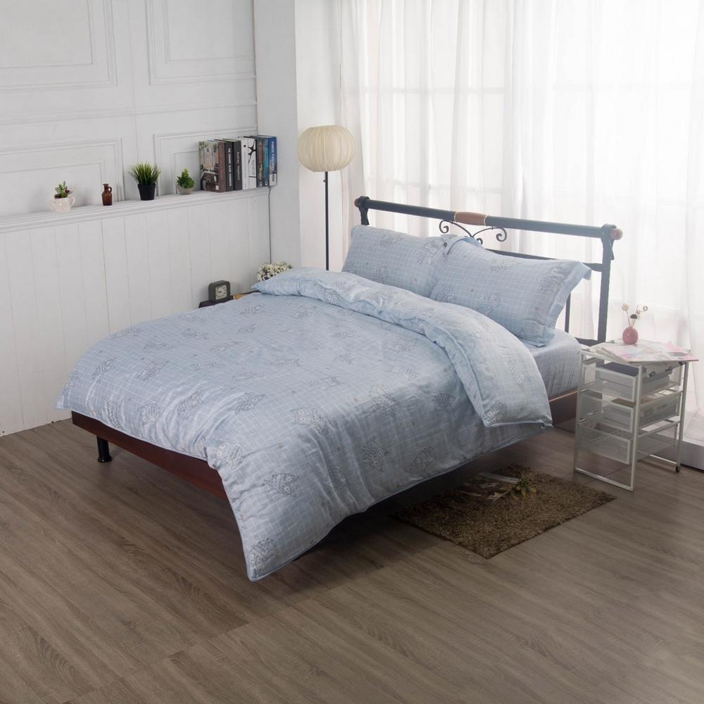 夢工場林間幻影40支紗萊賽爾天絲四件式兩用被床包組-雙人