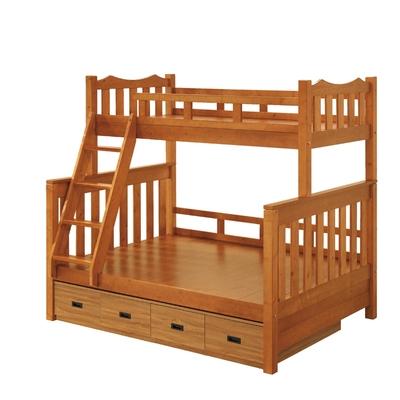 文創集 巴威5尺雙人實木雙層床台(雙層床台+床底收納櫃)-156x202x193cm免組