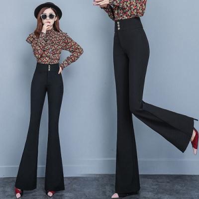 時髦顯瘦氣質黑九頭身喇叭褲S-2XL-WHATDAY
