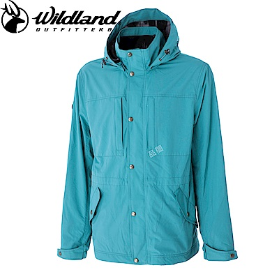 【Wildland 荒野】男Pile裡防風保暖時尚外套水綠