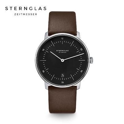 STERNGLAS 德國希丹格斯 S01-NA03-PR04 簡約時尚黑盤文青石英錶(深棕錶帶) 38mm 男/女錶