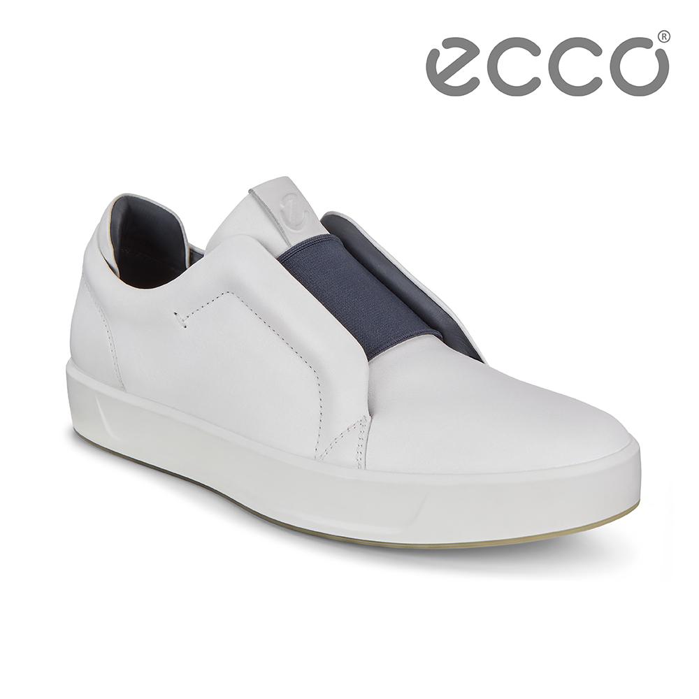 ECCO SOFT 8 M 撞色套入式休閒鞋 男-白