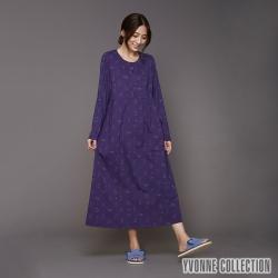 YVONNE 貓咪印花半開襟洋裝-暗紫