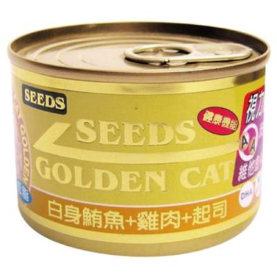 Seeds 聖萊西-GOLDEN CAT健康機能特級金貓罐-白身鮪魚+雞肉+起司(80gX24罐)