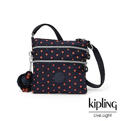 Kipling 紅黃幾何圖騰收納多夾層側背包