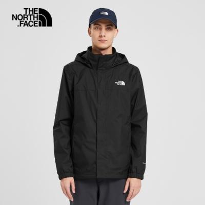 The North Face北面男款黑色防水透氣衝鋒衣 49F7JK3