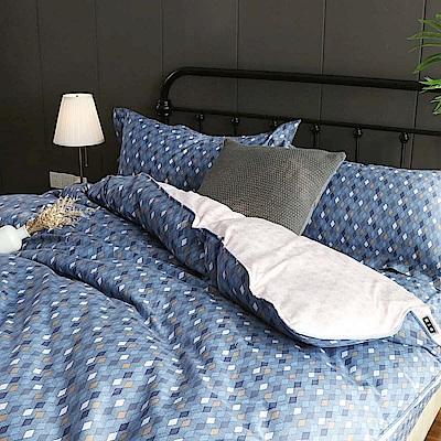 夢工場 畫格慵懶60支紗長絨棉床包兩用被組-雙人