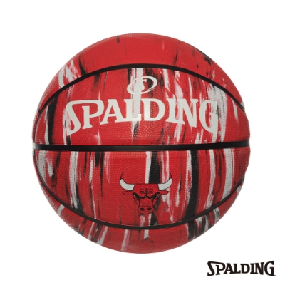 SPALDING 斯伯丁 NBA 隊徽球 大理石印花系列-公牛 RUBBER 籃球 7號