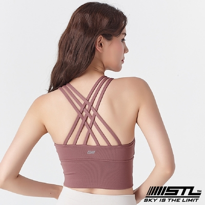 STL Yoga Crop Top Bra 123 韓國瑜伽 女子高度支撐(專利記憶棉胸墊)機能運動內衣/短版上衣 編織乾燥玫瑰DryRose