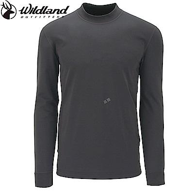 【Wildland 荒野】男遠紅外線彈性保暖衣灰藍