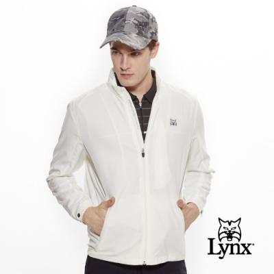 【Lynx Golf】男款防潑水3M反光設計長袖薄外套-牙白色