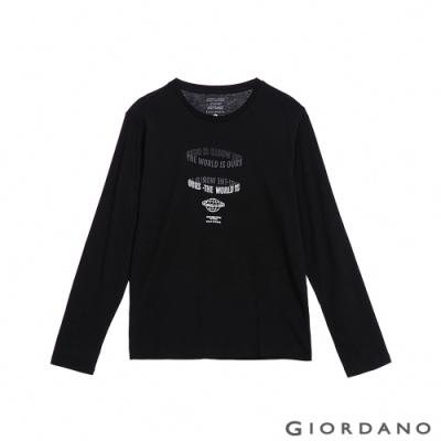 GIORDANO 男裝EXPLORE FUTURE印花長袖T恤- 02 標誌黑