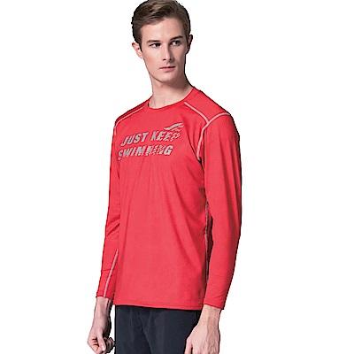 聖手牌 T恤圓領衫 紅色運動休閒長袖圓領衫
