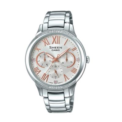 CASIO卡西歐 優雅三針三眼施華洛世奇女腕錶(SHE-3058D-7A)-粉x36mm