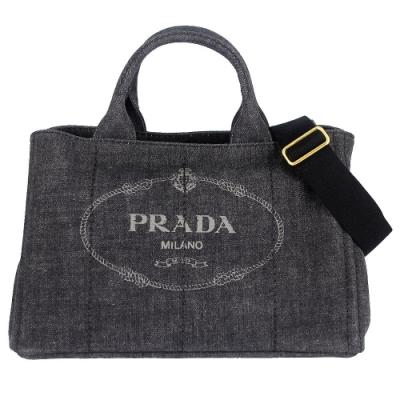 PRADA CANAPA 灰色單寧帆布三角標誌皮飾邊手提/肩背包(大)