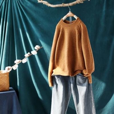 素色拼接螺紋開叉卷邊圓領毛衣加厚寬鬆針織衫-設計所在