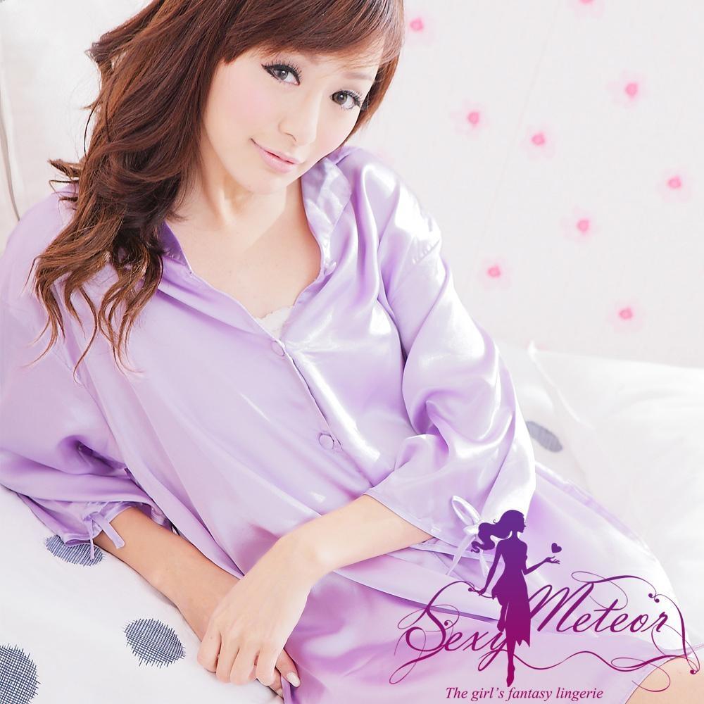 襯衫睡衣 全尺碼 男友襯衫式緞面連身睡衣(優雅淺紫) Sexy Meteor
