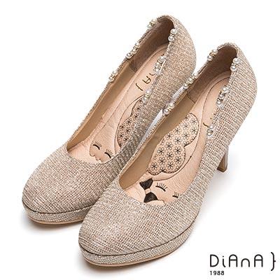 DIANA 漫步雲端瞇眼美人款-璀璨星紗珍珠飾浪漫晚宴跟鞋-金
