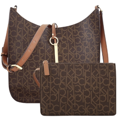 Calvin Klein 巧克力色LOGO PVC斜背包/大型-附手拿包