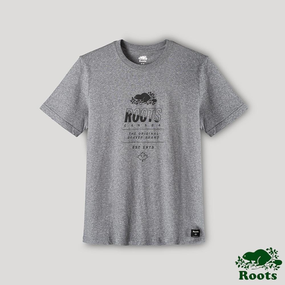 Roots男裝-璀璨銀河系列 反射效果LOGO短袖T恤-深灰