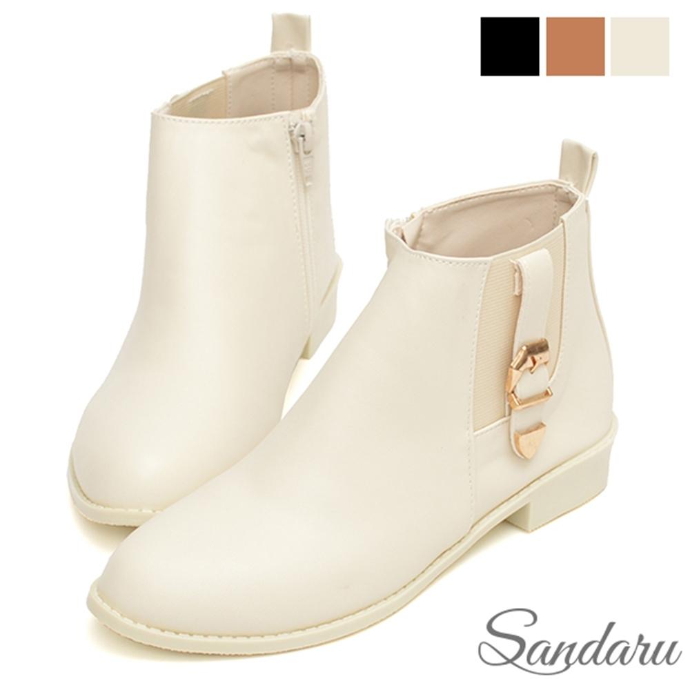 山打努SANDARU-短靴 側釦飾鬆緊皮革平底鞋-米